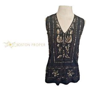 Boston Proper Black Embellished Top